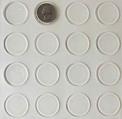 Rubber Feet Adhesive Rubber Pads, over 1 Inch Diameter Round Self Stick Bumpers, Thin Clear Bumper Pads plus Alcohol Prep Pad - 48 Pack