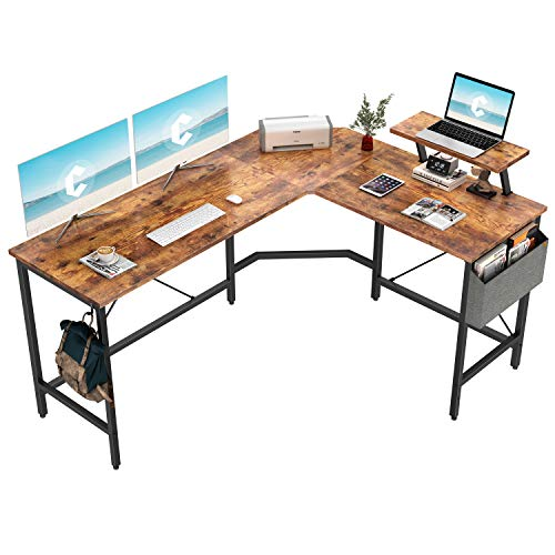 Cubiker Modern L-Shaped Computer Office Desk, Corner Gaming Desk with Monitor Stand, Home Study Writing Table Workstation for Small Spaces, Rustic