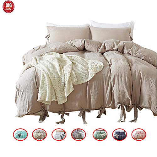 DuShow Solid Taupe Duvet Cover Queen Washed Cotton Duvet Cover Set 3 Piece(1 Duvet Cover + 2 Pillow Shams) Bedding Set Soft Microfiber Comforter Cover Set