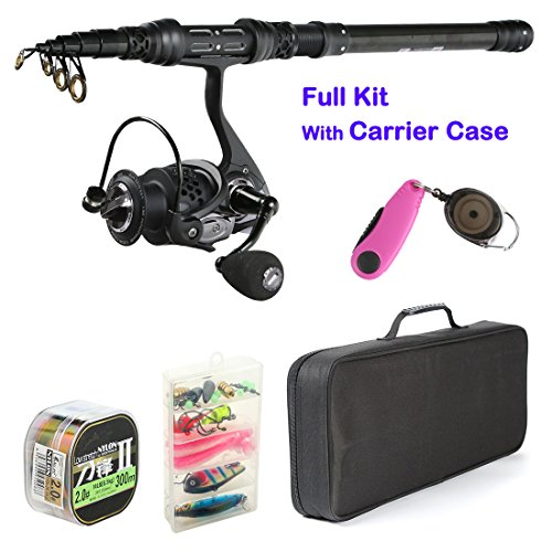 Palm fishing Spinning Rod and Reel Combos – Carbon Fiber Telescopic Fishing Rod with Reel Combo Line Lures Hooks and Fishing Carrier Bag Case Accessories – for Saltwater Freshwater