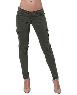 James Jeans Womens J Twiggy Ankle Cargo Skinny Jean with Raw Hem in Deep Army
