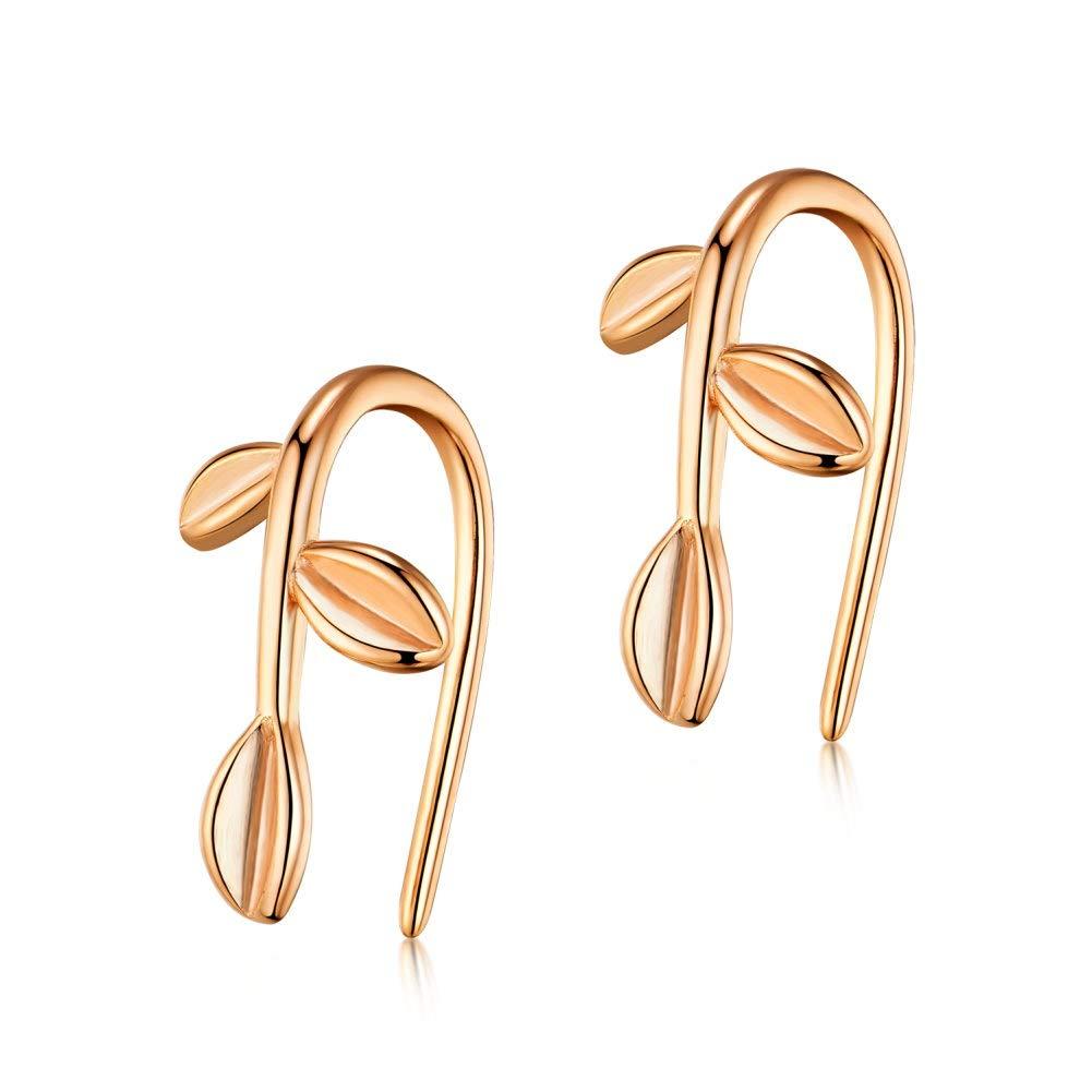 IminiJewelry Sterling Silver Cute Leaf Dangle Drop Earrings Wrap Cuffs Tiny Clip On Ear Studs Hypoallergenic for Women Girls