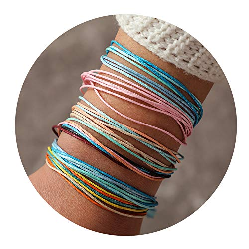 choice of all 3 Pcs Summer Surfer Wave Bracelet Adjustable Friendship Bracelet Handcrafted Jewelry Women (E:6colorful)