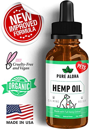 Pure Aloha Pets Hemp Oil for Dogs and Cats Organic Extract - 300 mg - Calming Supplement with Coconut Oil
