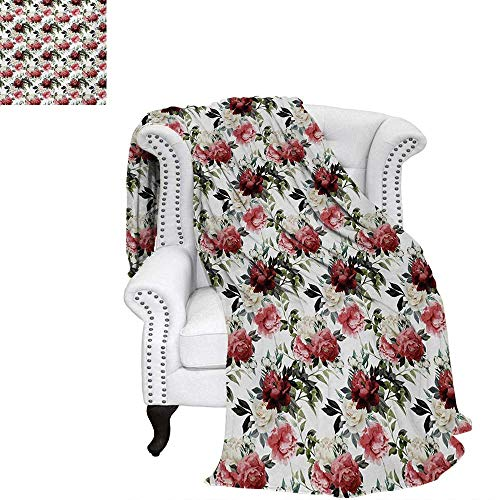 (warmfamily Shabby Chic Summer Quilt Comforter Floral Flower Roses Buds with Leaves and Branches Art Print Digital Printing Blanket 80