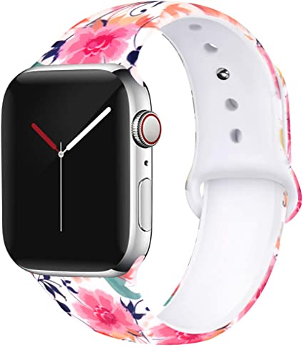 OriBear Floral Band Compatible with Apple Watch 40mm 38mm Women Soft Silicone Solid Pattern Printed Replacement Bands for iWatch Series 4/3/2/1 M/L ...