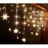 BLOOMWIN Copo de Nieve 104LED 2Mx1M Guirnaldas Cortinas de LED Luz Malla Red de LED con 8 Modelos de Iluminación hadas cadena para Boda Ceremonia árbol de Navidad Fiesta blanco cálido