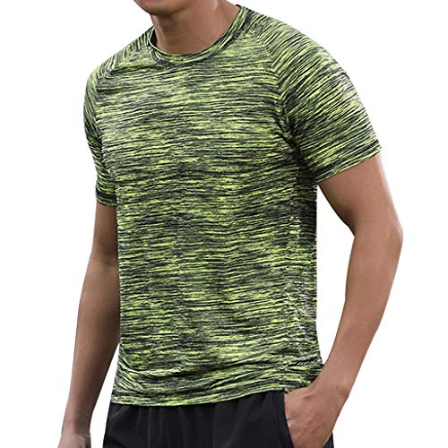 Mens Summer Fitness Sport Fast-Dry Breathable Casual O-Neck T-Shirt Running Tops Green