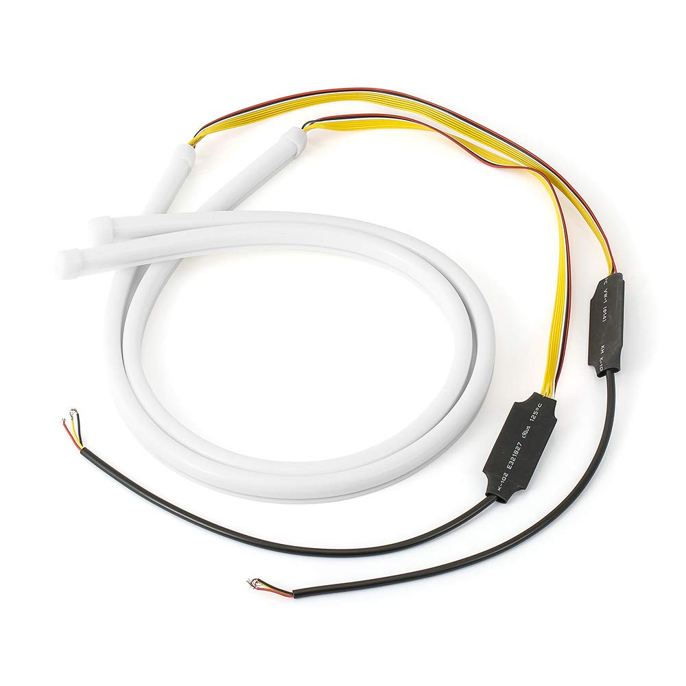 Flexible Car DRL Running Turn Signal White Amber LED Flowing Bar Silicone Daytime Running Light Headlight Strip Star-Trade-Inc