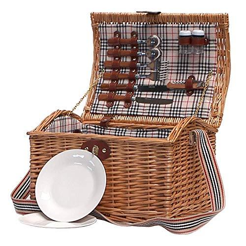 Tradicional cesta de picnic de mimbre Highgrove para 2 ...