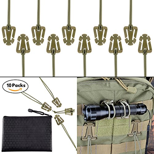 (Pack of 10 Tactical Gear Clip Molle Web Dominators for Outdoor Hydration Tube Backpack Straps Management with Zippered Pouch by BOOSTEADY Coyote Tan)
