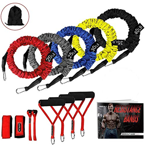 Resistance Bands, 15 Pieces Exercise Elastic Bands Set, 20lbs To 40lbs Resistance Tubes Heavy Duty Protective Nylon Sleeves Anti-Snap Fitness SUPALAK