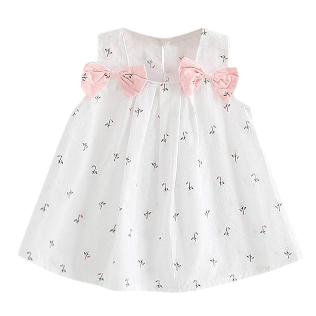 Jchen(TM) Little Kids Baby Girls Dress Flower Print Bowknot Tutu Dress Summer Casual Princess Dress for 0-3 Y (Age:6-12 Months, White)
