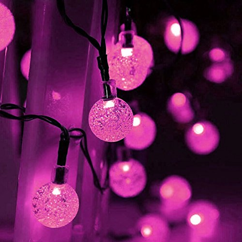 Solar String Lights, LED Bubble Ball Holiday Decorations Outdoor Waterproof, 19.7 Ft 30 Fairy pure white Colored LEDs Blossom Garden Lighting (Pink String Lights)