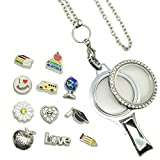 Doingo School Floating Locket Lanyard Teacher ID card Holder Charm Lanyard with Badge Holder Christmas Gift Present