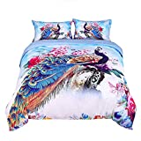 Beautiful King Size Bedding Sets Encoft 3D Peacock Bedding King Size Luxury Beautiful Peacock and Peony Watercolor Printed 4-Piece Duvet Cover Set, No Comforters (King, Multi)