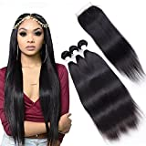 8A Remy Brazilian Straight Hair 3 Bundles With Middle Part Closure (20 22 24+18) 100% Unprocessed Brazilian Virgin Straight Human Hair Weft Extensions With Lace Closure Brazilian Hair Bundles