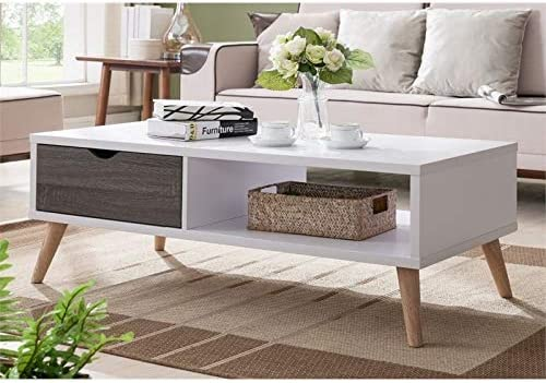 Furniture of America Paulson Wood Coffee Table in White and Dark Gray