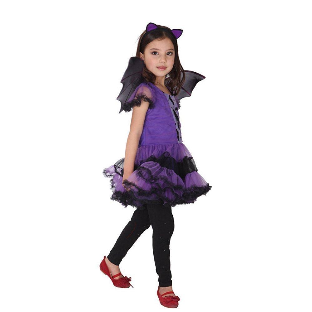 JT-Amigo Disfraz de Murciélago para Niña Halloween, 6-7 años