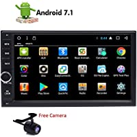 Android 7.1 2 Din Car Stereo Muti-Touch Screen GPS Navigation System, Quad Core 1024x600, Android 7.1, 7-Inch Display, Bluetooth, AM/FM Receiver and Backup Camera Wifi