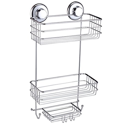 HASKO accessories Suction Cup Shower Caddy - Basket for Shampoo, Conditioner, Soap, Razors - Stainless Steel - (Chrome) ()