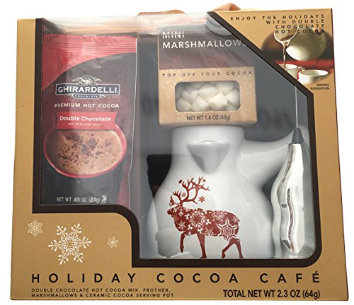 Ghirardelli Double Chocolate Hot Cocoa Cafe Holiday Gift Set with Frother, Ceramic Serving Pot and Marshmallows.