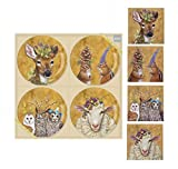 Paperproducts Design Set of 4 China Plates bundle with Matching Beverage Napkins, Woodsy and Wise