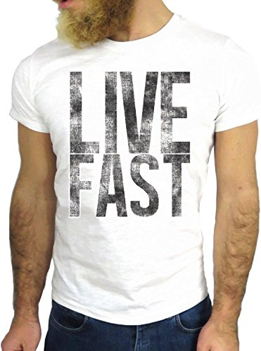 T-SHIRT JODE GGG24 HZ0595 LIVE FAST QUOTE COOL VINTAGE ROCK FUNNY FASHION CARTOON NICE AMERICA BIANCA - WHITE L