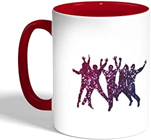 كوب سيراميك للقهوة بتصميم فرحة الشباب ، لون احمر