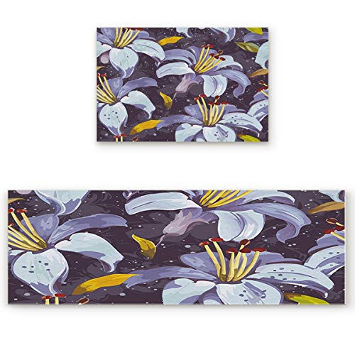 Hand Painted Lily - Our Wings Non-Slip/Skid Soft Kitchen Mat,Absorbent Indoor Carpet Doormat Runner Bathroom Rug 2 Piece Sets,Retro Hand Painted Lily (23.6x35.4in+23.6x70.9in)