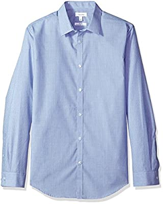 Calvin Klein Men's Infinite Cool Button Down Shirt Slim Fit Stripe