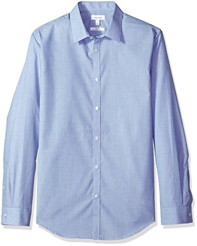 Calvin Klein Men's Long Sleeve Button Down Stripe Shirt, Nautical Blue, M ()