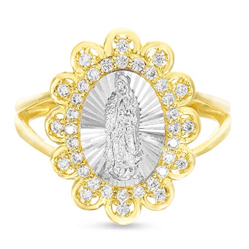 MY BIBLE Cubic Zirconia Oval Miraculous Floral Border Ring for Women in Yellow Gold and Rhodium Plated 925 Sterling Silver (Size 8) ()