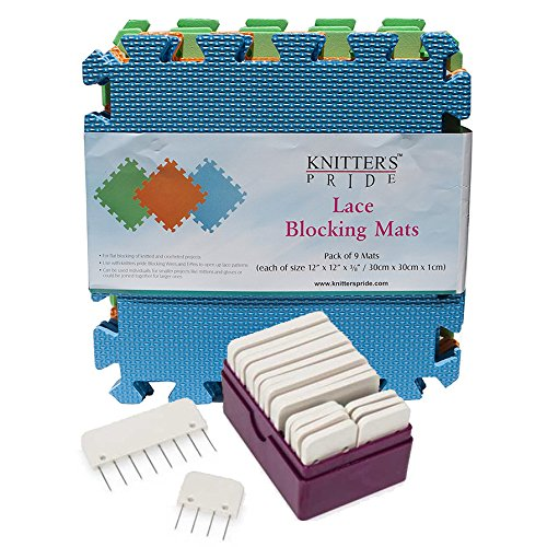 Knitters Pride Lace Blocking Mats and Knitter Blockers Bundle by Knitter's Pride