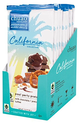 Chocolate Bars - Chuao Chocolatier Pool Party Pretzel (2.8 oz) - Pack of 9 - California Collective - Best-Selling Chocolate - Gourmet Artisan Milk Chocolate - Free of Artificial (Chocolate Pool)