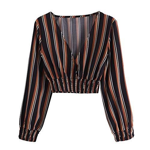 NINGSANJIN Hauts Ray Manches T Shirt Femmes Cou Vtements Automne Blouse Noir Longues V Mode rrq6wz