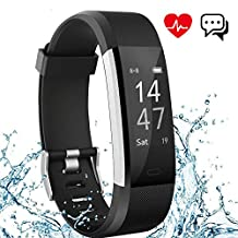 Fitness Tracker Aneken IP 67 Waterproof Smart Bracelet with Heart Rate Monitor Activity Health Tracker Fitness Wristband Pedometer with Sleep Monitor Smart Watch for iPhone and Android Smart phones Black