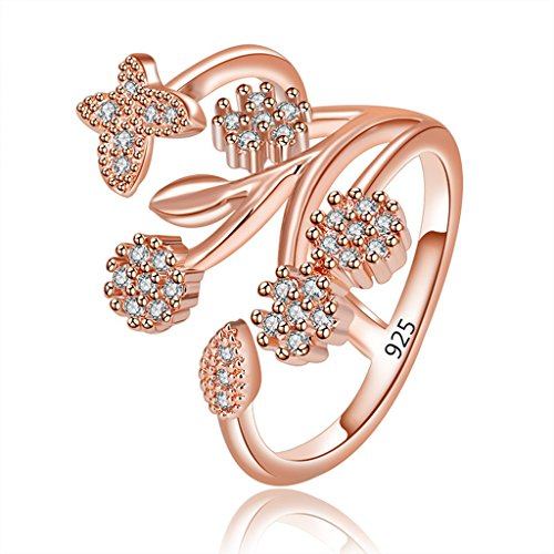 Orris Sterling Silver Flower Cluster Crystal Mounted Adjustable Free Size Open Ring (Rose Gold Butterfly)