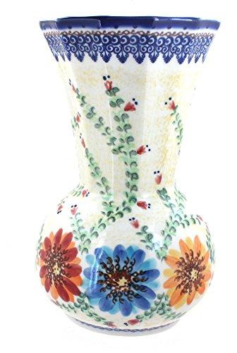 Blue Rose Polish Pottery Autumn Burst Vase