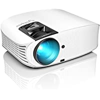 Projector, ELEPHAS [2018 Upgraded Version] 1080P 200 LCD Video Projector Support HDMI VGA AV USB Micro SD Ideal for Home Theater Entertainment Party and Games, White