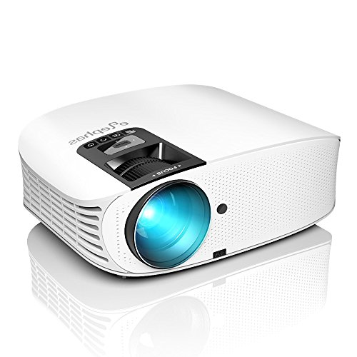 Projector, ELEPHAS [2018 Upgraded Version] 1080P 200″ LCD Video Projector Support HDMI VGA AV USB Micro SD Ideal for Home Theater Entertainment Party and Games, White