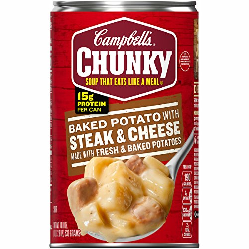 - Campbell's Chunky Baked Potato with Steak and Cheese Soup, 18.8 oz. Can (Pack of 12)