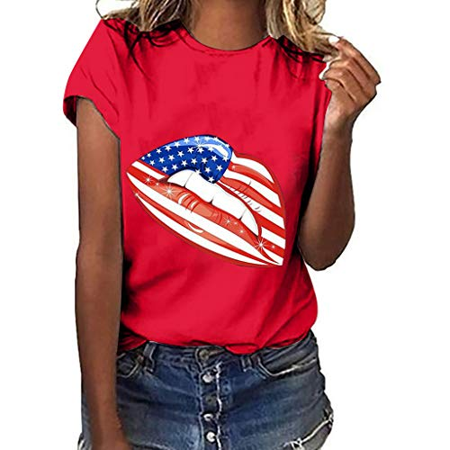 (Mysky Summer Women Popular Sexy American Flag Lip Print Short Sleeve Casual Plus Size Tee Shirt Blouse Tops Red)