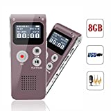 Digital Voice Recorder, Portable Recorder, Multifunctional Rechargeable Dictaphone, FlatLED Audio Voice Recorder Dictaphone, MP3 Music Player with Mini USB Port and Color LCD display, 16GB (Red)