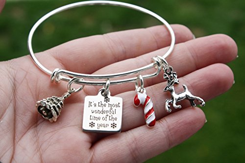 (Christmas Adjustable Charm Bangle Bracelet, Adult and Child size Available, It's the most wonderful time of the year christmas tree reindeer candy cane charm)
