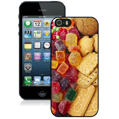 Coque,Fashion Coque iphone 5S Colorful Jello Candy Baked Cookies Android Wallpaper.Jpeg Noir Screen Cover Case Cover Fashion and Hot Sale Design