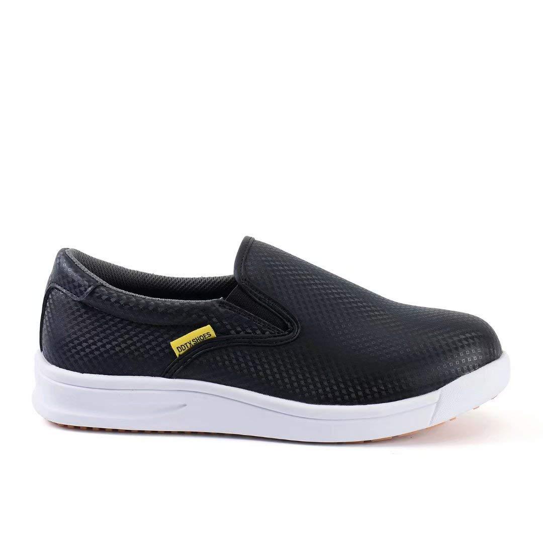 DDTX Slip Oil Resistant Slip-on Mens Work Shoes Black//White