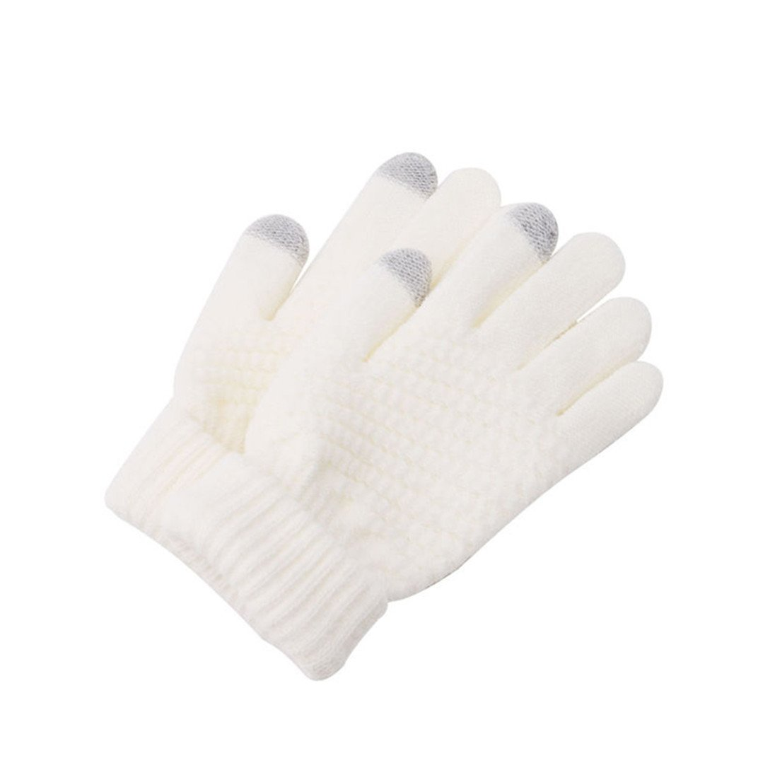 Colorido Women Winter Warm Full Finger Knitted Touch Screen Gloves Mittens size One Size (White)