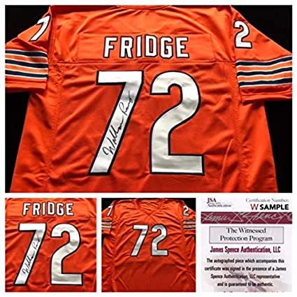 64a566b8e0f Image Unavailable. Image not available for. Color  William Perry Chicago  Bears Signed Autograph Orange Fridge Jersey JSA COA