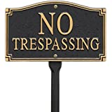 Whitehall Products No Trespassing Wall/Lawn Statement Plaque, Black/Gold